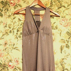 Wet Seal Grey Faux Sequined T-Back Mini Dress